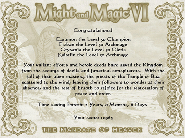 Might and Magic VI The Mandate of Heaven - The End